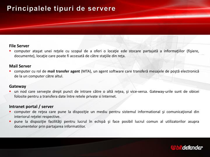 Principalele tipuri de servere