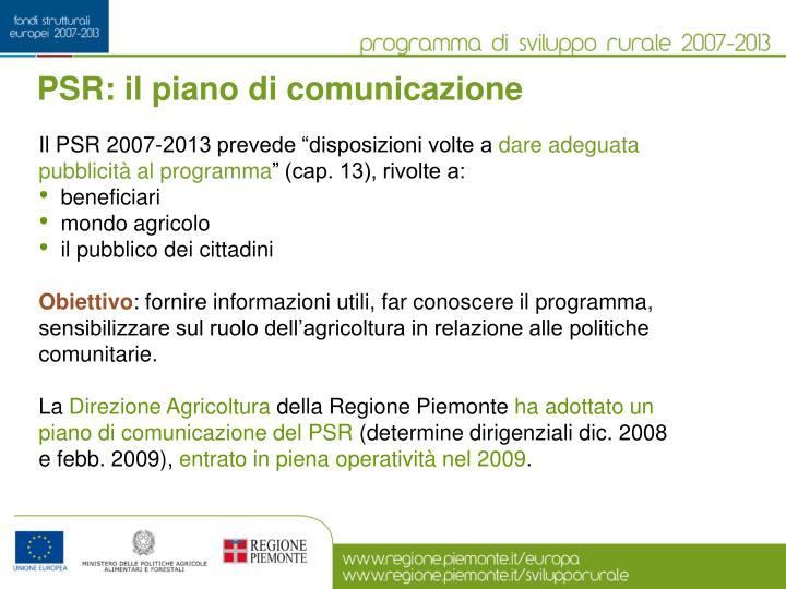 PSR: il piano di comunicazione