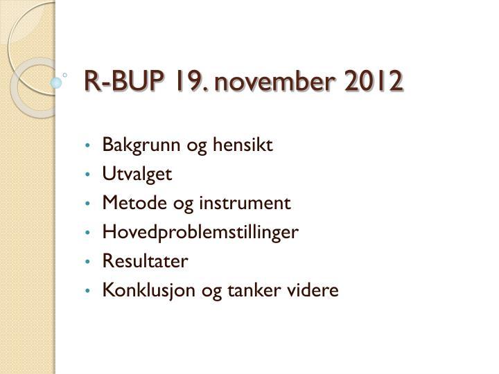 R-BUP 19. november 2012
