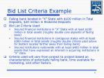 bid list criteria example