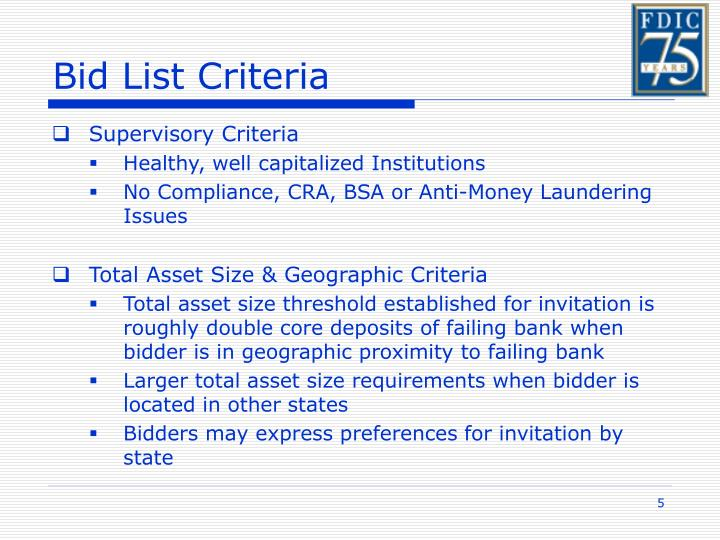 Bid List Criteria