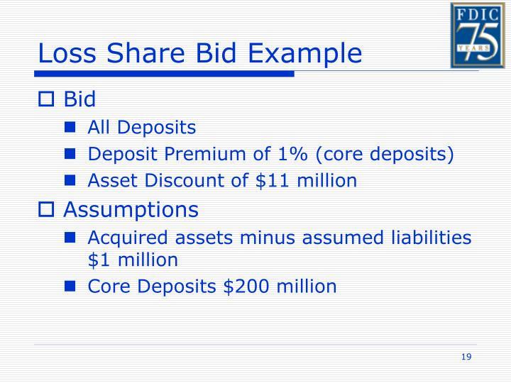 Loss Share Bid Example