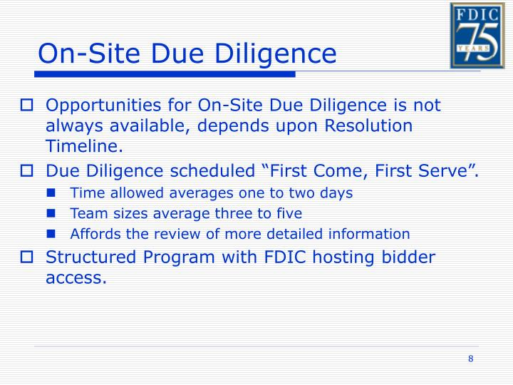 On-Site Due Diligence