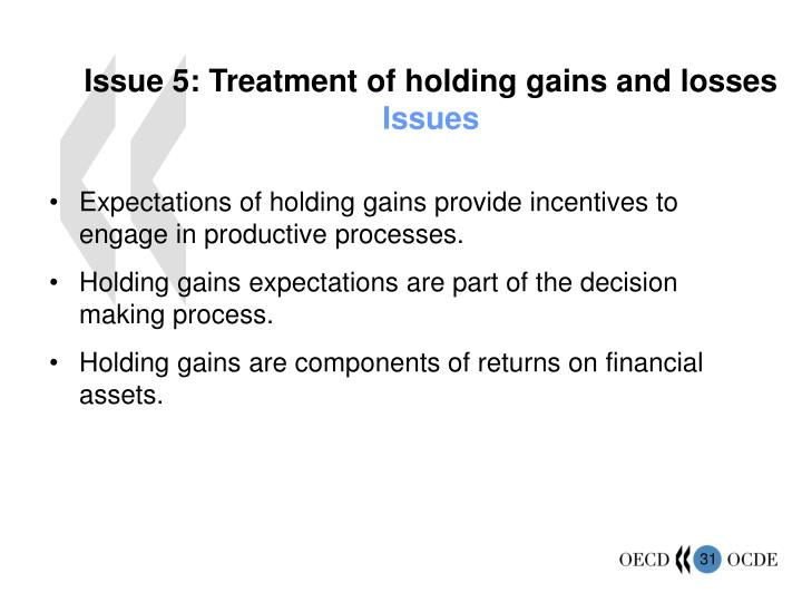 Issue 5: Treatment of holding gains and losses