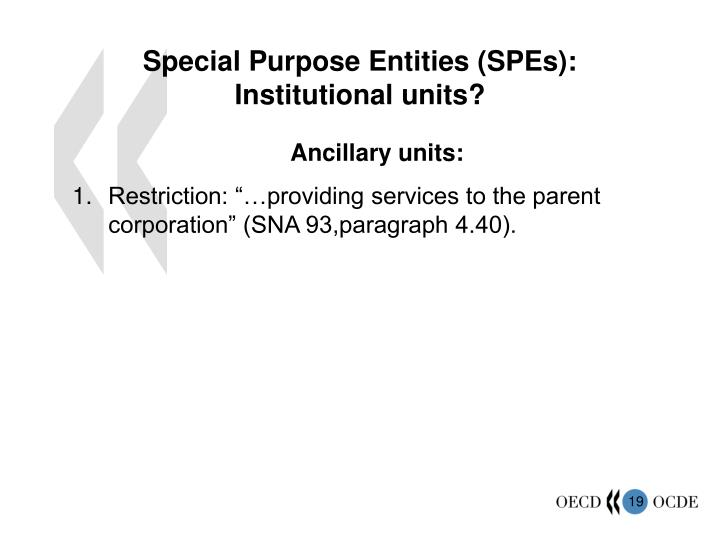 Special Purpose Entities (SPEs): Institutional units?