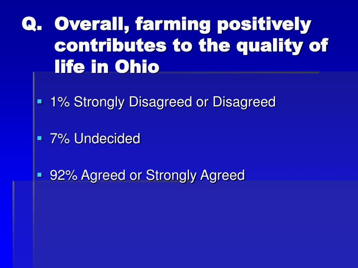 Overall, farming positively contributes to the quality of life in Ohio