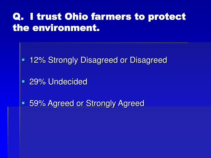 Q.  I trust Ohio farmers to protect the environment.