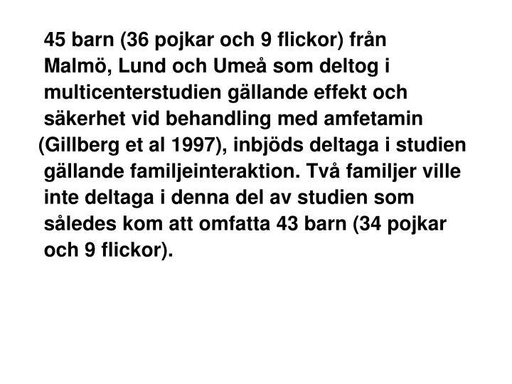 45 barn (36 pojkar och 9 flickor) från