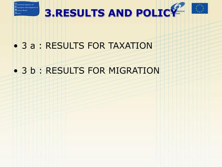 3 a : RESULTS FOR TAXATION