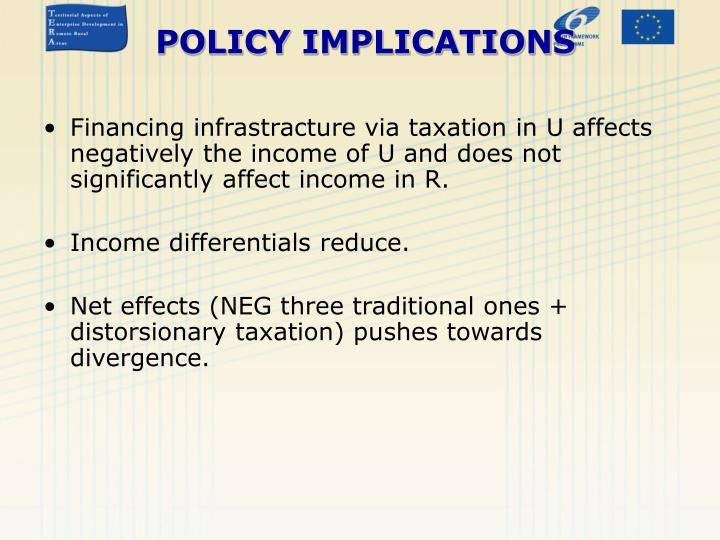 Financing infrastracture via taxation in U affects negatively the income of U and does not significantly affect income in R.