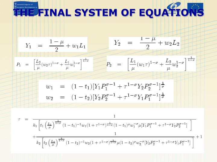 THE FINAL SYSTEM OF EQUATIONS