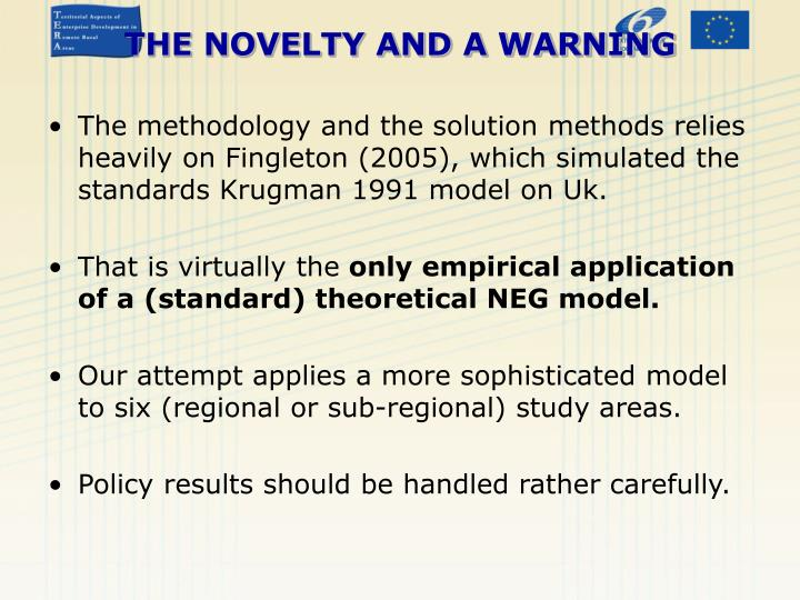 The methodology and the solution methods relies heavily on Fingleton (2005), which simulated the standards Krugman 1991 model on Uk.