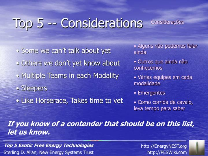 Top 5 -- Considerations