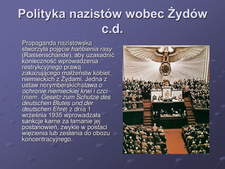 Polityka nazistów wobec Żydów c.d.