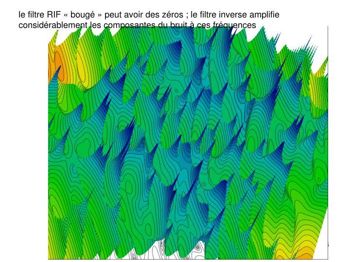 le filtre RIF «bougé» peut avoir des zéros ; le filtre inverse amplifie