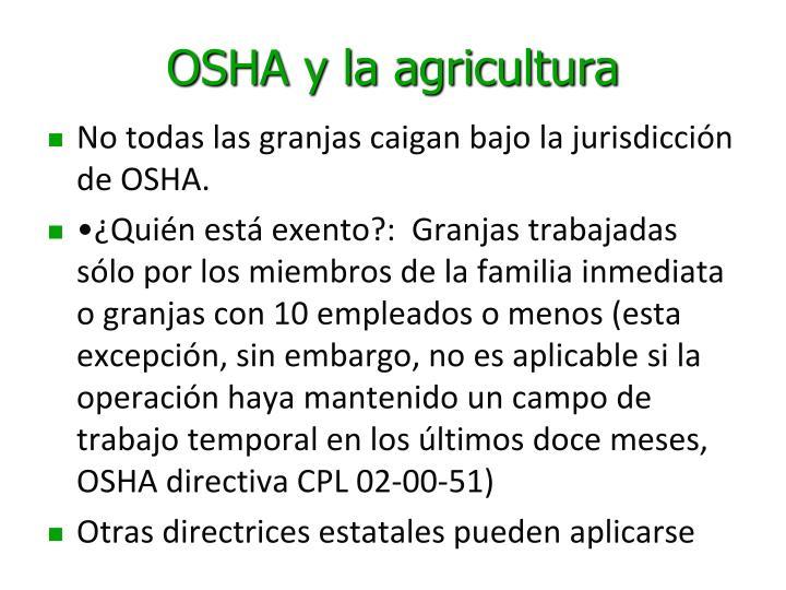 OSHA y la agricultura