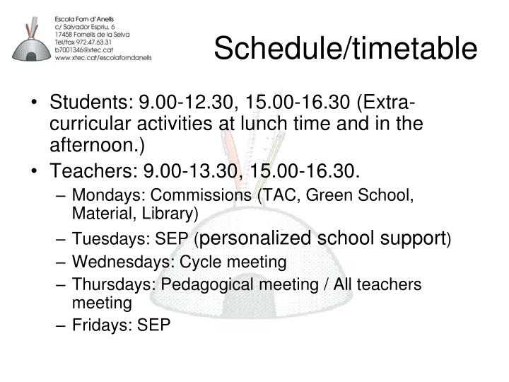 Schedule/timetable