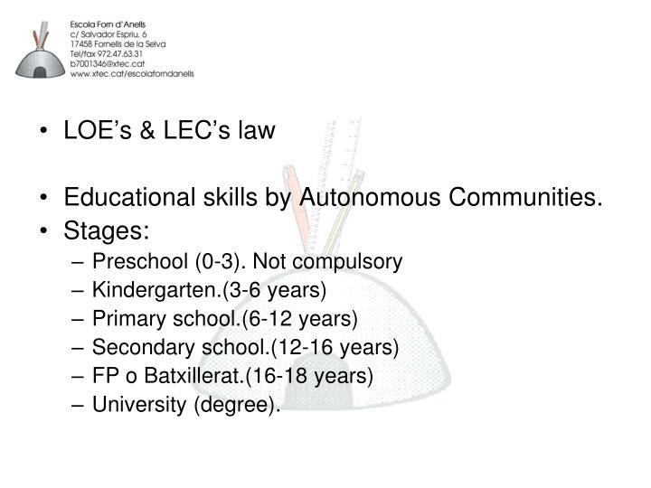 LOE's & LEC's law