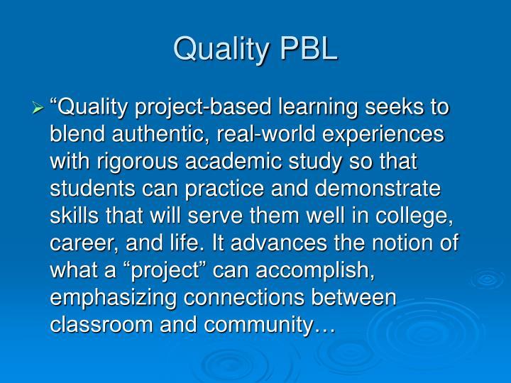 Quality PBL