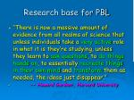 research base for pbl