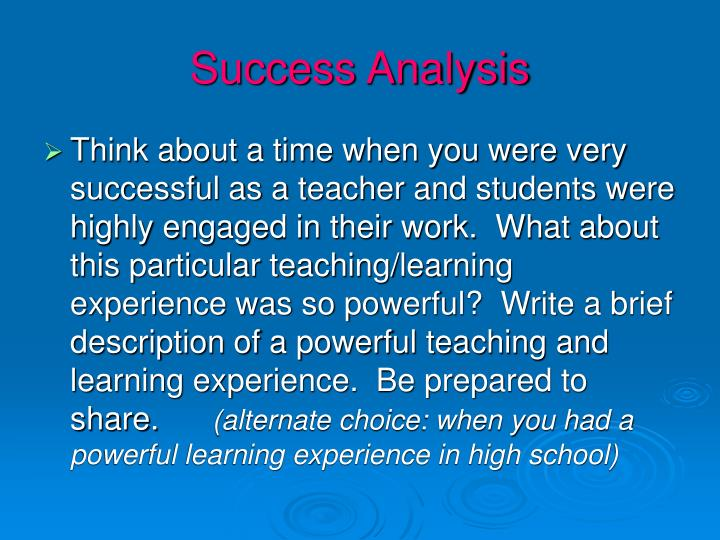Success Analysis