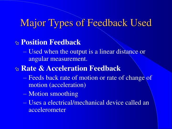 Major Types of Feedback Used