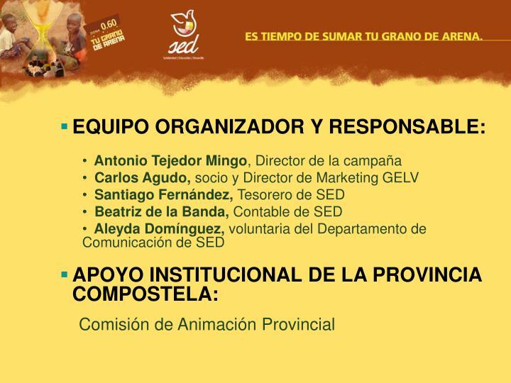 EQUIPO ORGANIZADOR Y RESPONSABLE: