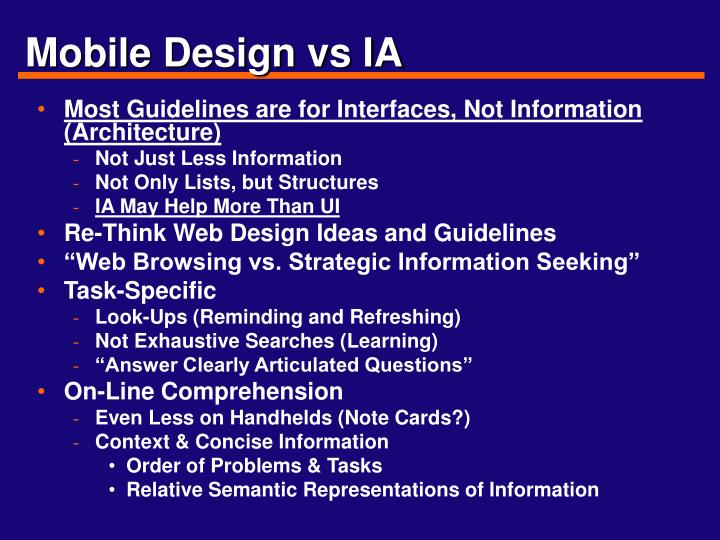 Mobile Design vs IA
