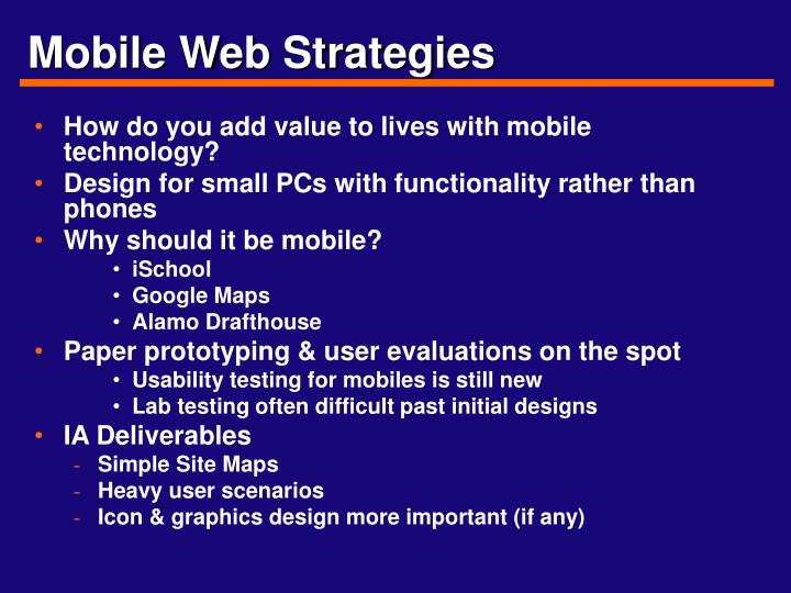 Mobile Web Strategies