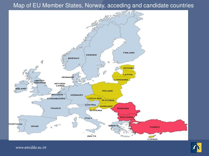Map of EU Member States, Norway, acceding and candidate countries