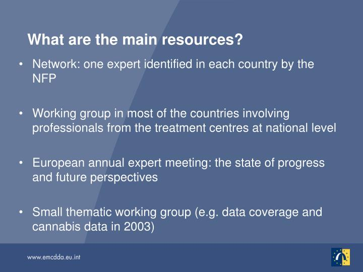 What are the main resources?