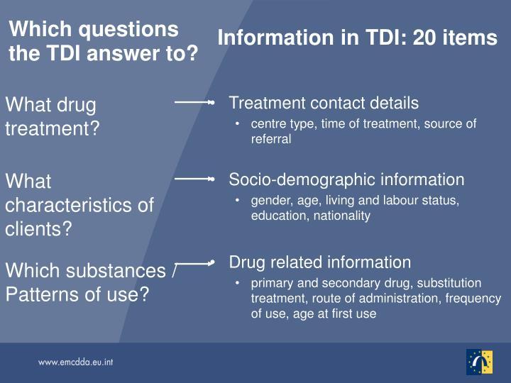 Information in TDI: 20 items