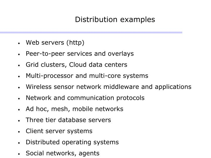 Distribution examples
