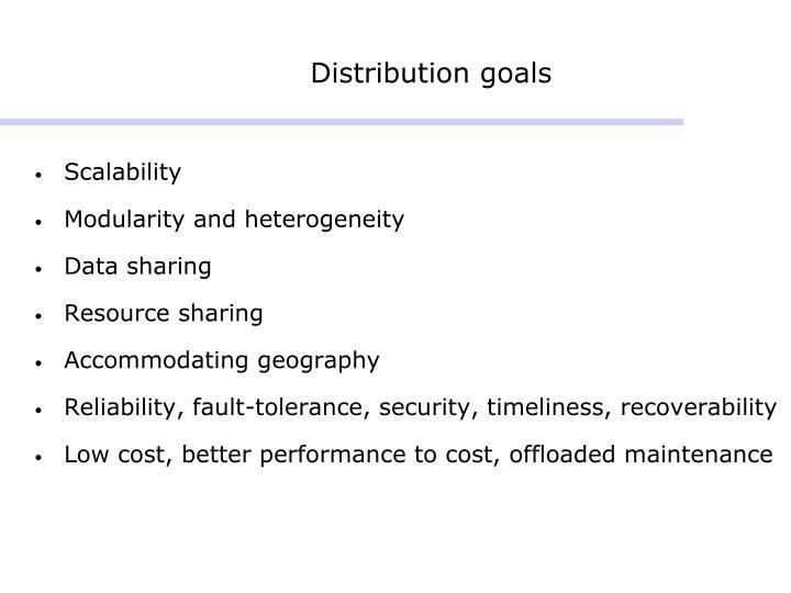 Distribution goals