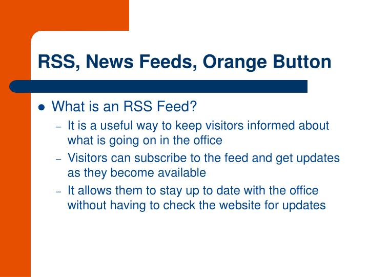 RSS, News Feeds, Orange Button
