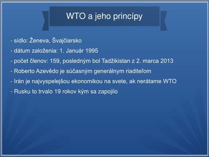 WTO a jeho princípy