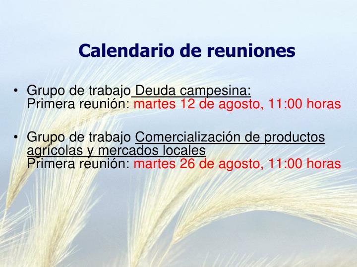 Calendario de reuniones