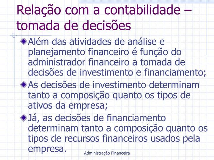 Relação com a contabilidade – tomada de decisões