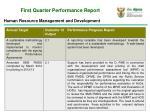 first quarter performance report
