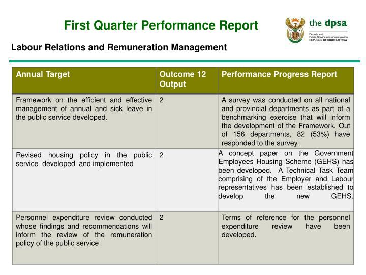 First Quarter Performance Report