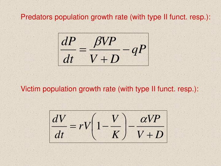 Predators population growth rate (with type II funct. resp.):