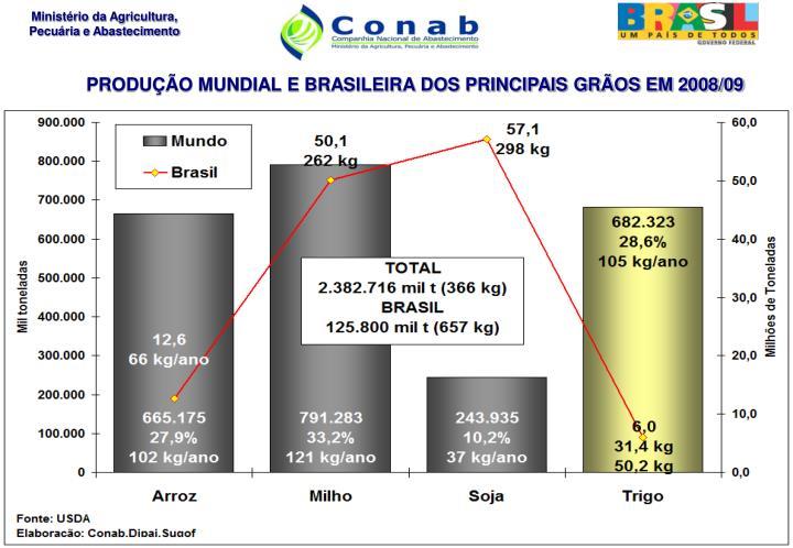 PRODUÇÃO MUNDIAL E BRASILEIRA DOS PRINCIPAIS GRÃOS EM 2008/09