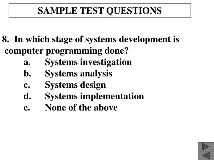 SAMPLE TEST QUESTIONS