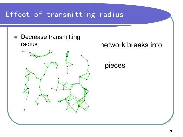 Decrease transmitting radius