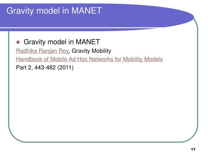 Gravity model in MANET