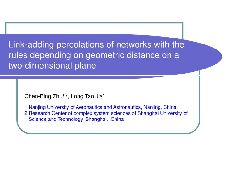 Link-adding percolations of networks with the rules depending on geometric distance on a