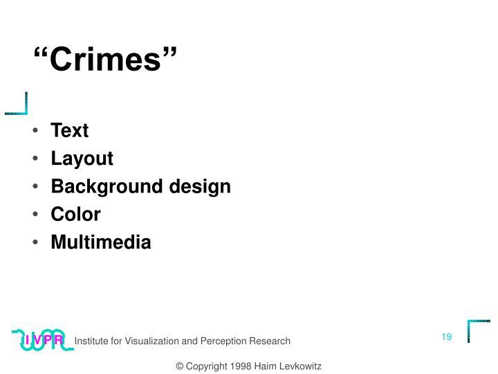 """""""Crimes"""""""