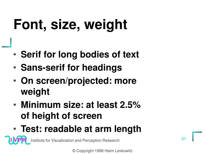 Font, size, weight