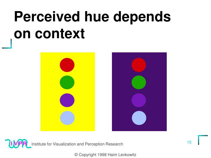 Perceived hue depends on context