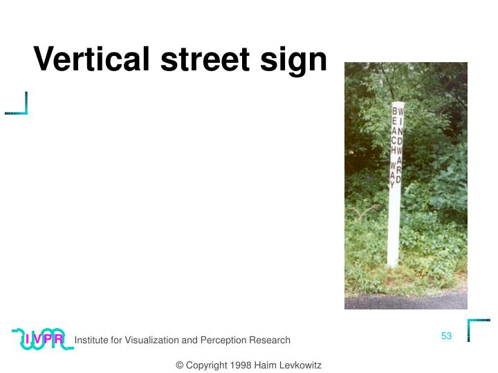 Vertical street sign